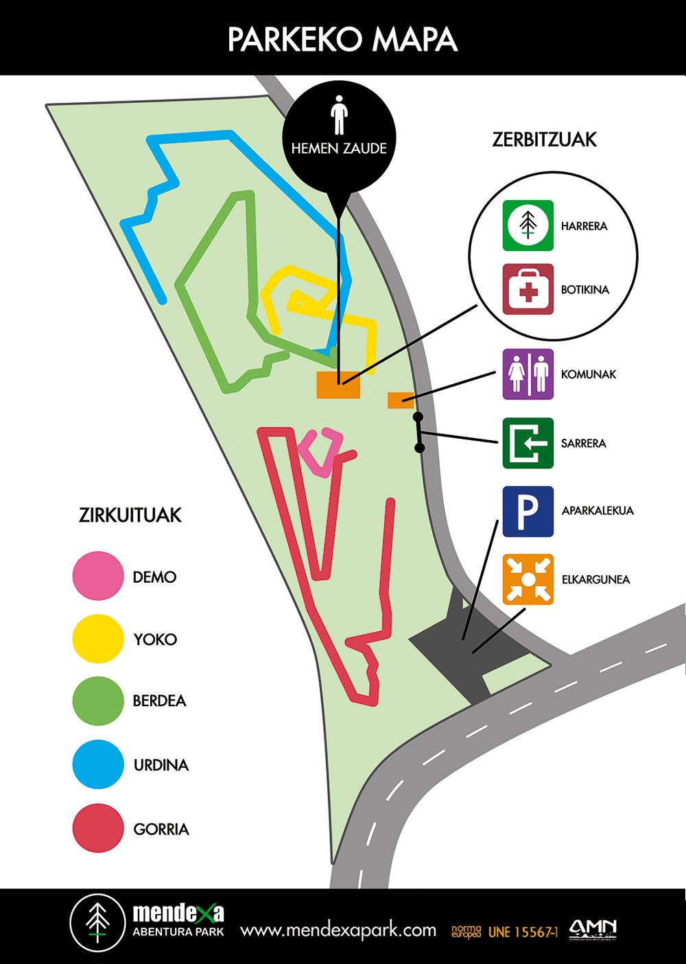 Mapa de Mendexa Abentura Park